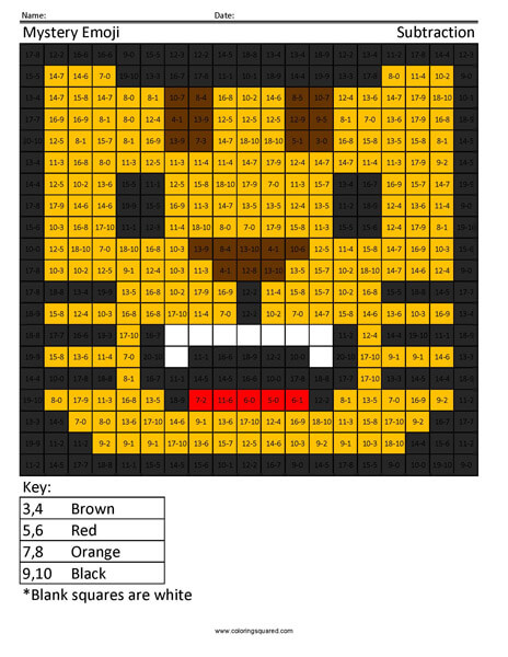 Square Emoji- Cat Subtraction coloring activity