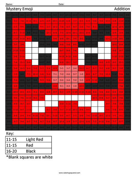 Square Emoji- Japanese Goblin Addition Coloring coloring activity