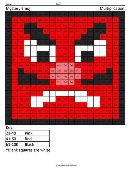 Square Emoji- Japanese Goblin Multiplication coloring activity