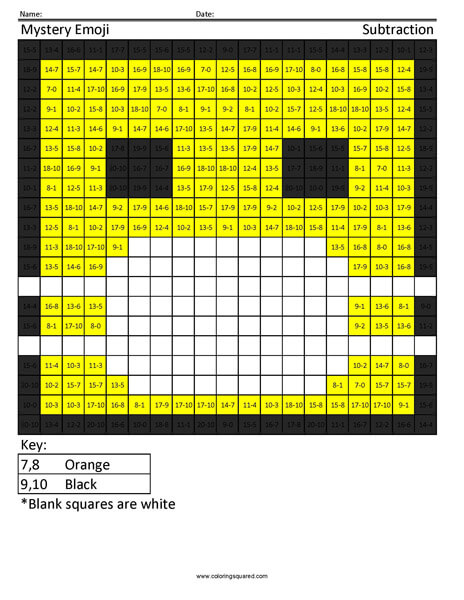 Square Emoji- Hospital Mask Subtraction coloring activity
