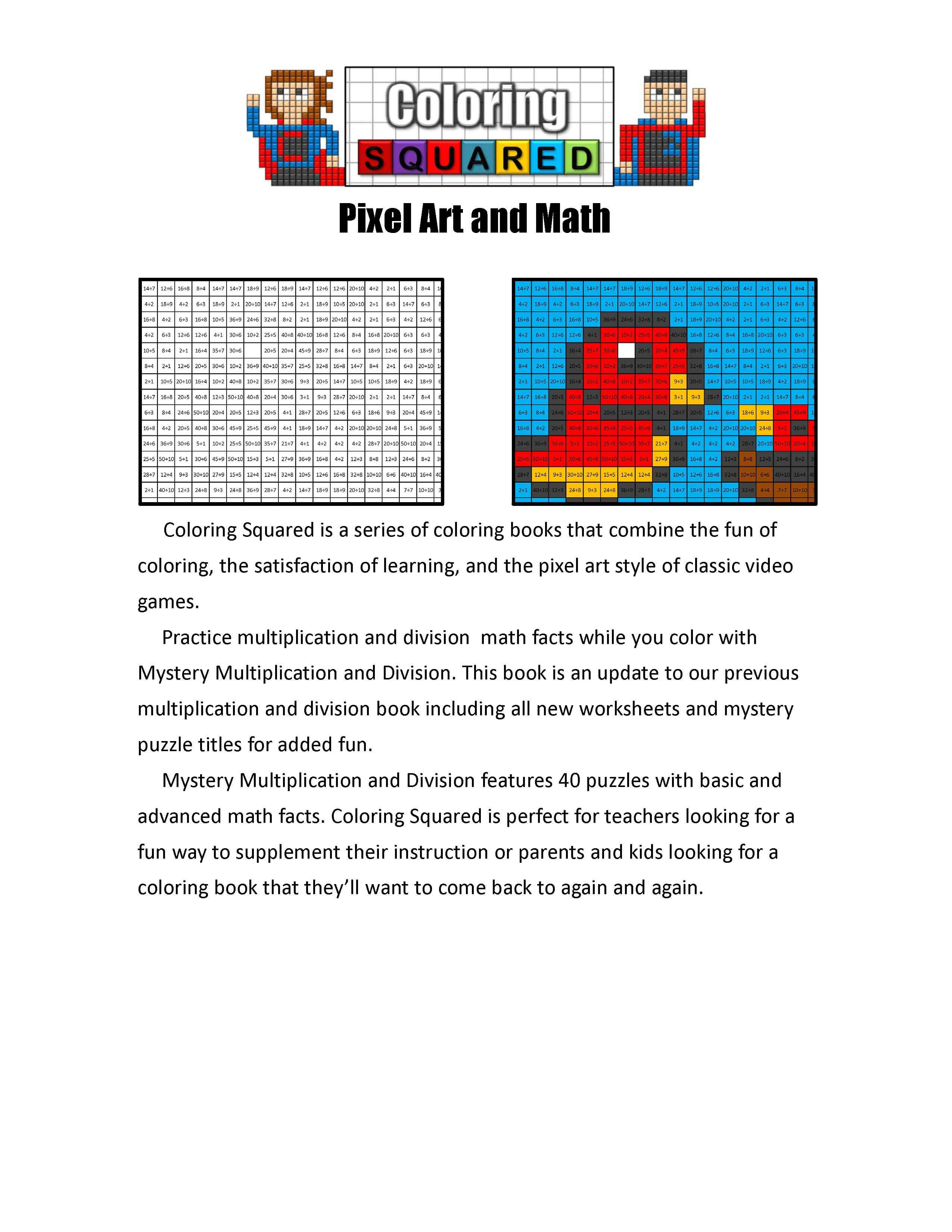 Mystery Multiplication and Division - Coloring Squared
