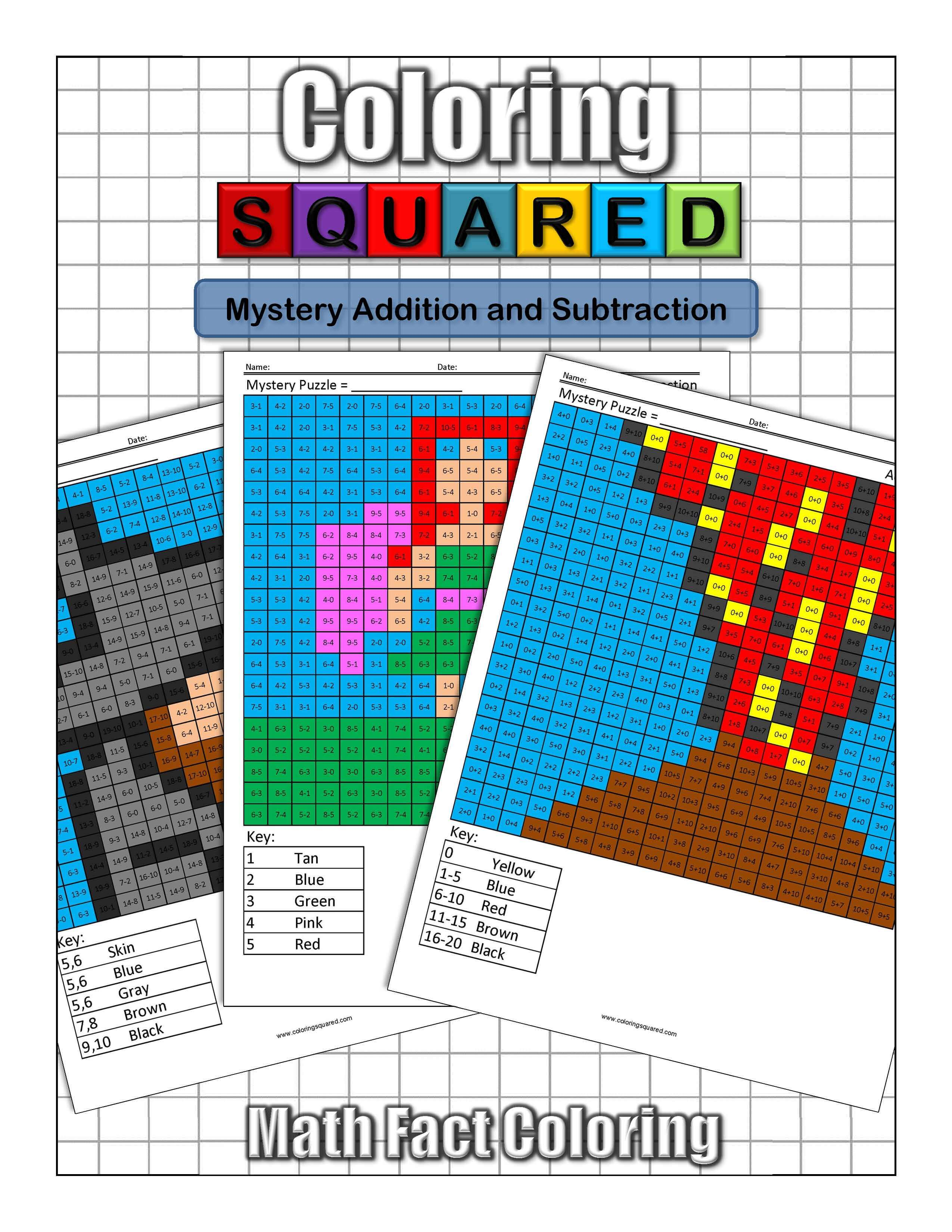 Mystery Addition and Subtraction - Coloring Squared