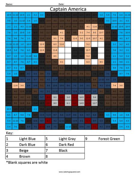 Captain America- Subtraction Superhero coloring activity