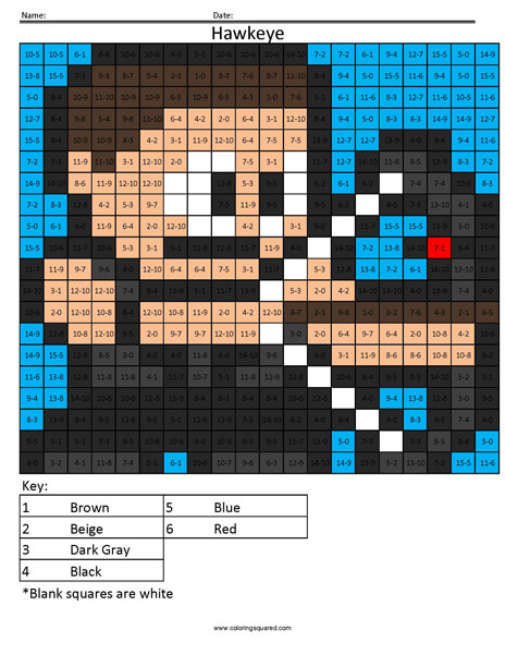 Hawkeye- Subtraction Superhero coloring activity