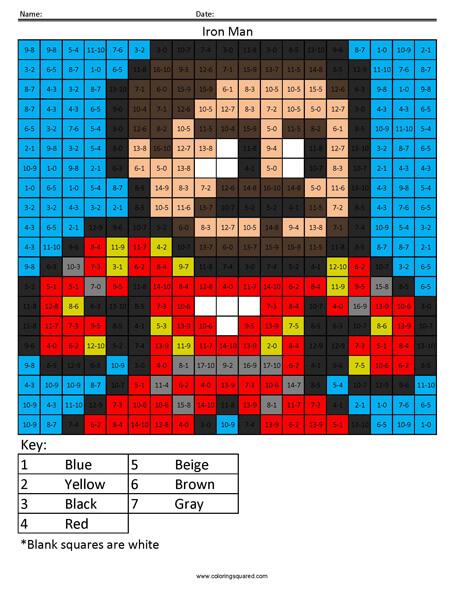 Thor Subtraction Superhero coloring activity