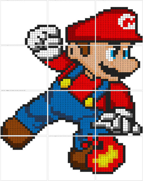 Super Mario coloring mural