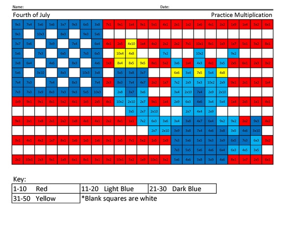 Fourth of July- Holiday Multiplication - Coloring Squared