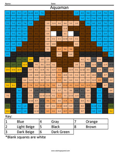 Aquaman- Color by Number superhero coloring activity