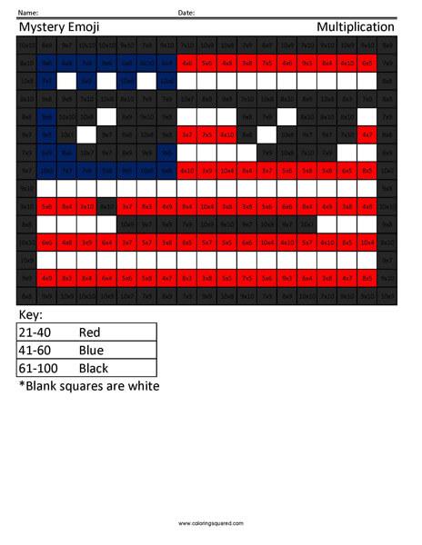 Amerimoji Multiplication coloring activity