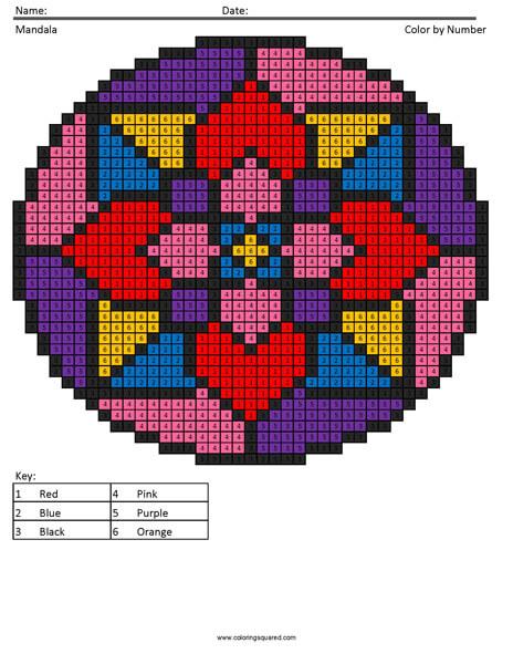 Mandala Pixel Art Coloring Squared