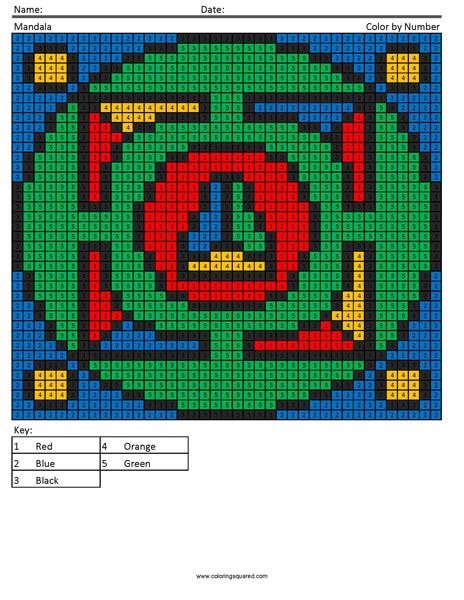 Mandala pixel art coloring page