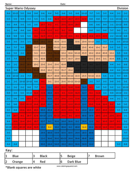 Mario Odyssey Division Coloring Squared