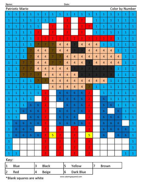 Patriotic Mario Coloring Page