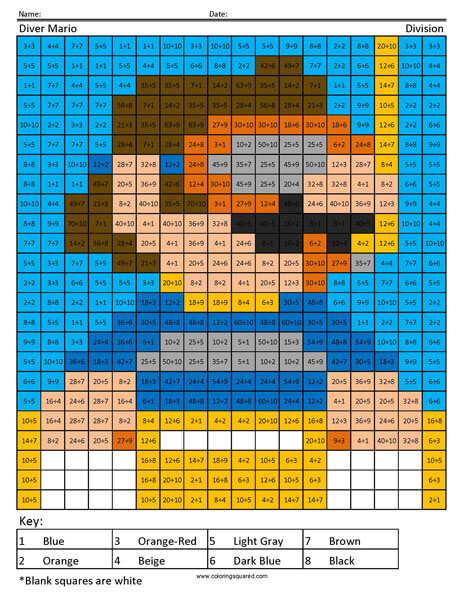 Diver Mario Coloring Page