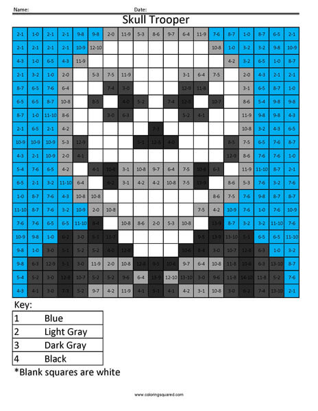 Fortnite Skull Trooper Subtraction Coloring Coloring Squared