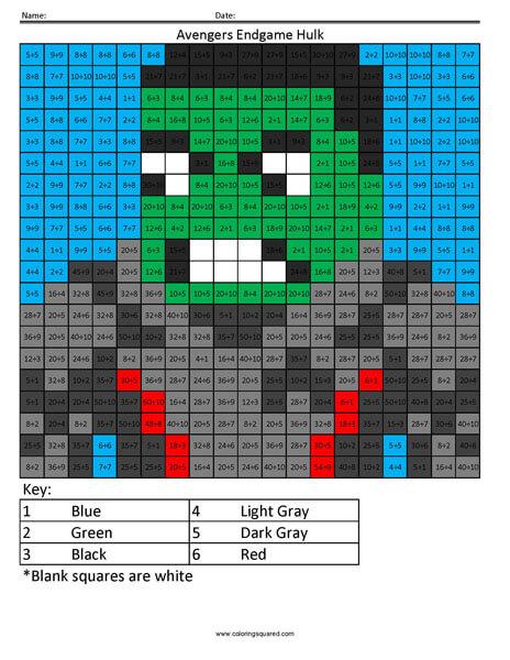 Avengers Endgame Hulk Division Coloring Squared