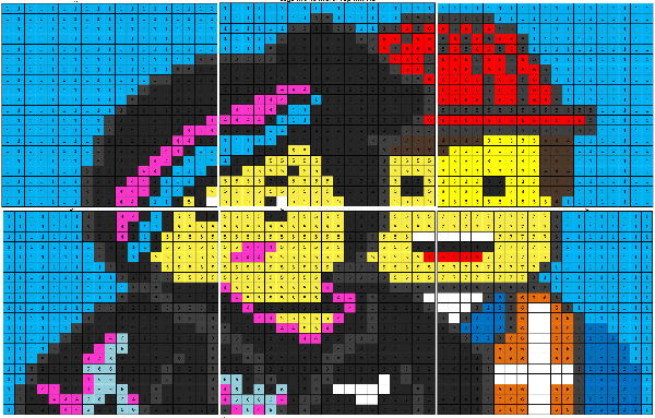 Cartoon Color By Number Coloring Squared